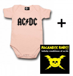 Set Cadeau AC/DC Body Bébé Logo Pink & AC/DC CD