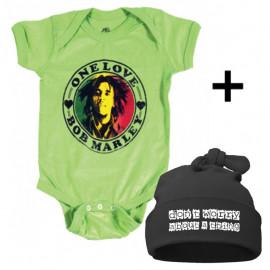 Set Cadeau Bob Marley Body Bébé & Don't Worry Bonnet